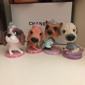 Set of 4 Pampered Pooch Dog Bobbleheads